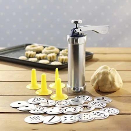 Aparat pentru Biscuiti si Fursecuri 20 de Forme, 4 Duze, Sigur si Rezistent, Usor de Folosit, Argintiu [2]