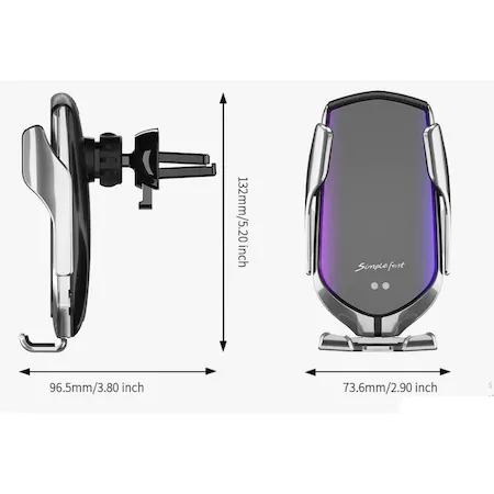 Incarcator Wireless Auto universal, cu Senzor inteligent, suport SMART Fast Charger 10W, clema prindere ventilatie [5]