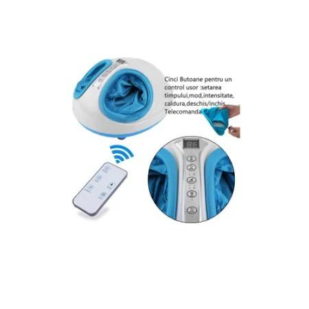 Aparat de masaj pentru picioare Shiatsu, 3 trepte intensitate, functie de incalzire, timer 5-30min, telecomanda, 40 W, alb/albastru [2]