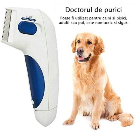 Aparat electric contra puricilor pentru caini, pisici si alte animale, Flea Doctor, Alb cu albastru [0]