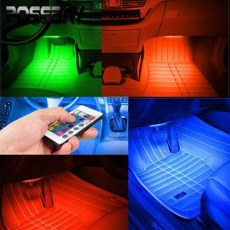 Kit Iluminare Ambientala 12 LED Interior Masina, Multicolor RGB cu Telecomanda [4]