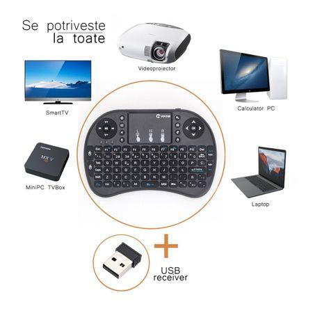 Tastatura mini wireless , QWERTY + Touchpad , pentru tv box , android , smart tv , etc , cu ACUMULATOR , reincarcabila [2]