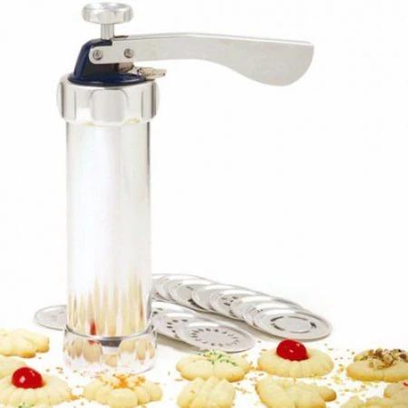 Aparat pentru Biscuiti si Fursecuri 20 de Forme, 4 Duze, Sigur si Rezistent, Usor de Folosit, Argintiu [0]