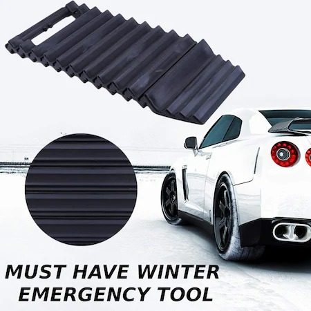 Set 2 Benzi auto antiderapanta si racleta curatare parbriz, 2 in 1, negru [4]
