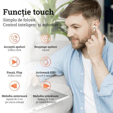Casti Bluetooth Wireless PRO, compatibile iOS si Android, Carcasa cu incarcare wireless, Clona, TWS Pro, Bluetooth 5.0, Sunet HiFi, Functie Touch,Alb,Negru [1]