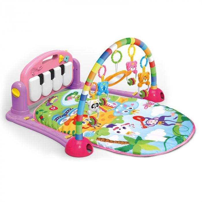 """Saltea de joaca bebe Centru de activitati multifunctional 4 in 1, cu pian, jucarii zornaitoare, oglinda, lumini si sunete ISP """"Piano Fitness Rack"""", nontoxic, verde [0]"""