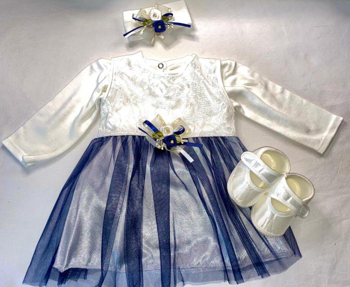 Set Botez pentru fetite Rochita Alb/Blue 1021 [0]