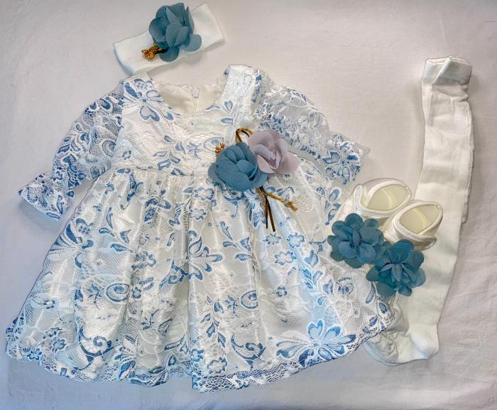 Set Botez pentru fetite Rochita Alb/Blue 610 [0]