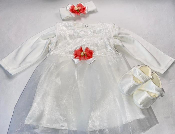 Set Botez pentru fetite Rochita Alb/Peach 1008 [1]
