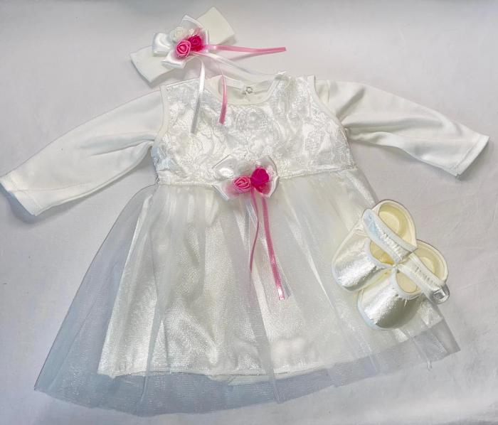 Set Botez pentru fetite Rochita Alb/Pink 1009 [0]