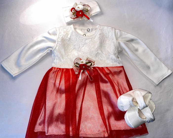 Set Botez pentru fetite Rochita Alb/Red 1021 [0]
