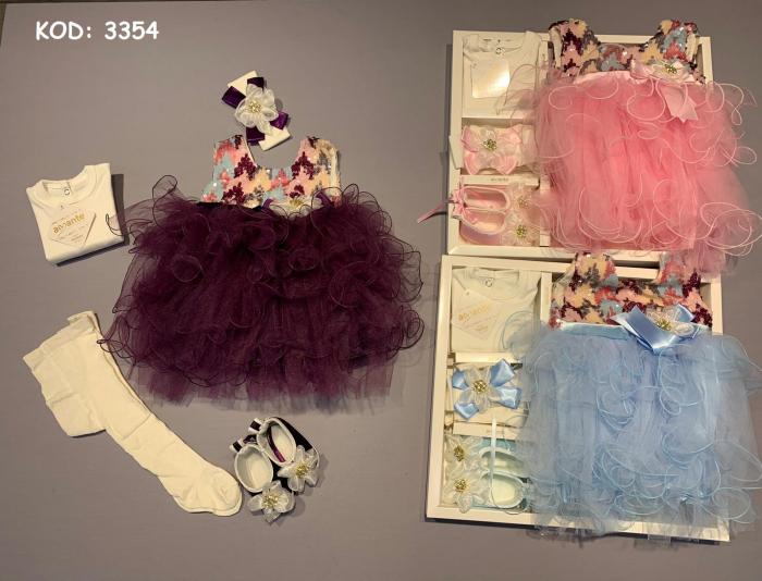 Set Botez pentru fetite Rochita Albastru 3354 [0]