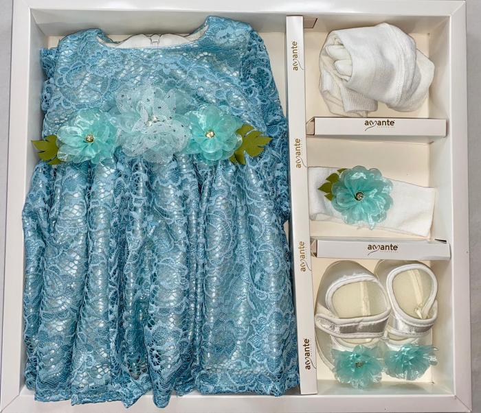Set Botez pentru fetite Rochita Blue/Turqoise 630 [1]