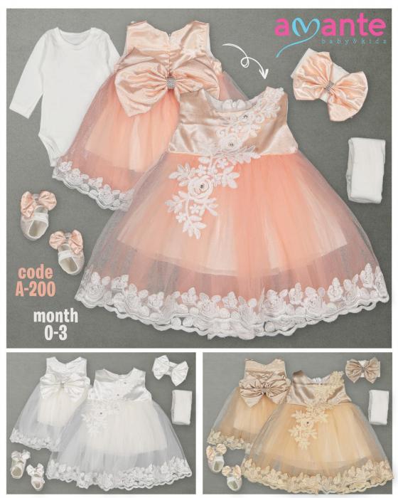 Set Botez pentru fetite Rochita Peach 200 [0]