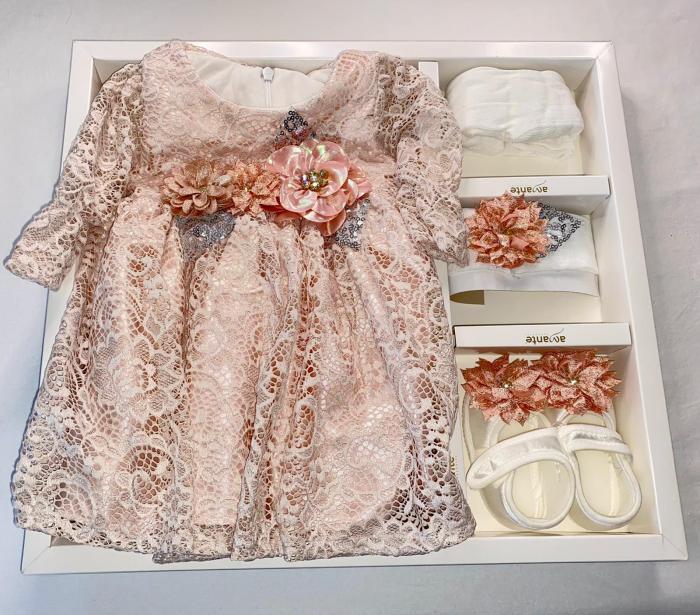 Set Botez pentru fetite Rochita Pink 630 [1]