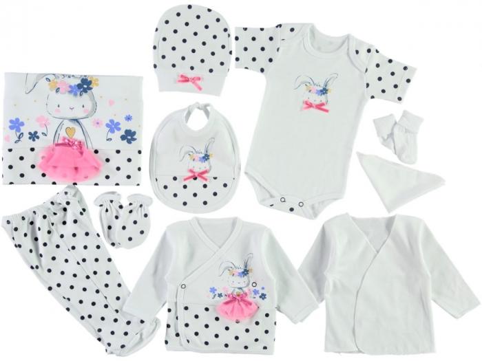 Set de maternitate pentru bebelusi nou nascuti 10 piese, 100% bumbac 4323 [0]