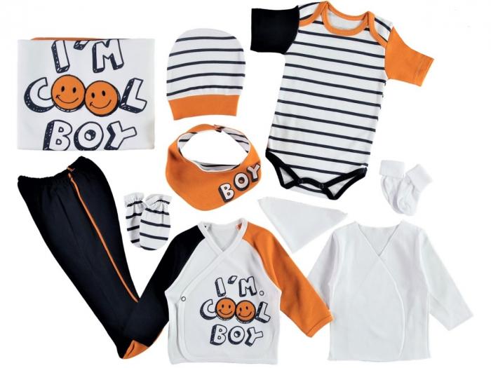 Set de maternitate pentru bebelusi nou nascuti 10 piese, 100% bumbac Cool Boy Orange [0]