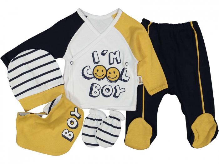 Set de maternitate pentru bebelusi nou nascuti 10 piese, 100% bumbac Cool Boy Yellow [0]