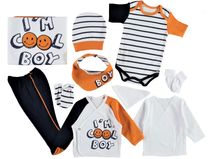 Set de maternitate pentru bebelusi nou nascuti 10 piese, 100% bumbac Cool Boy Yellow [1]