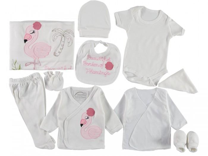 Set de maternitate pentru bebelusi nou nascuti 10 piese, 100% bumbac Flamingo Pink [0]