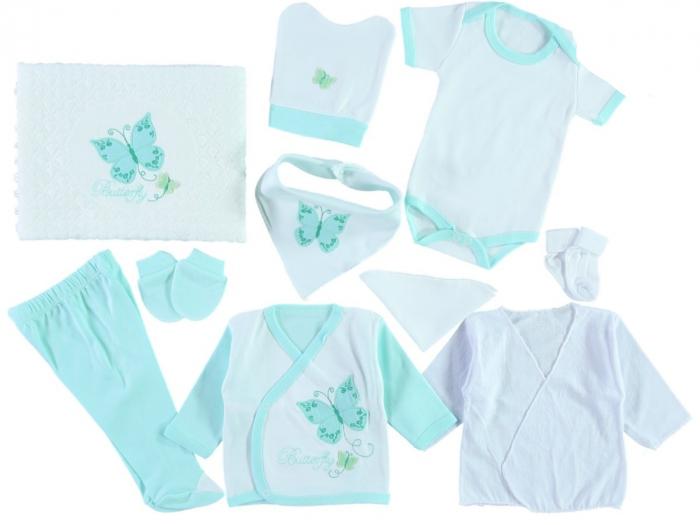 Set de maternitate pentru bebelusi nou nascuti 10 piese, 100% bumbac Mint Butterfly Wiwa [0]