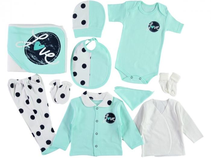 Set de maternitate pentru bebelusi nou nascuti 10 piese, 100% bumbac Mint Love [0]