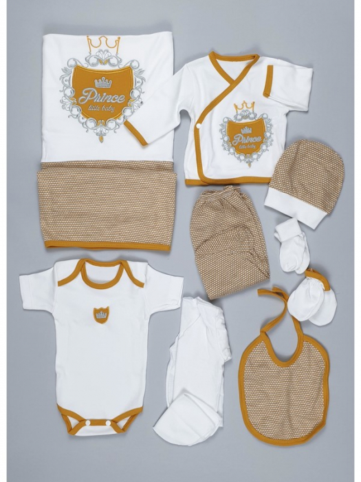 Set de maternitate pentru bebelusi nou nascuti 10 piese, 100% bumbac Prince Rosu [0]