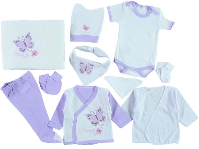 Set de maternitate pentru bebelusi nou nascuti 10 piese, 100% bumbac Purple Butterfly Wiwa [0]
