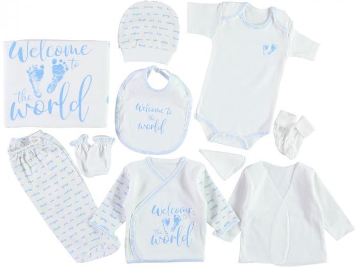 Set de maternitate pentru bebelusi nou nascuti 10 piese, 100% bumbac World Blue [0]