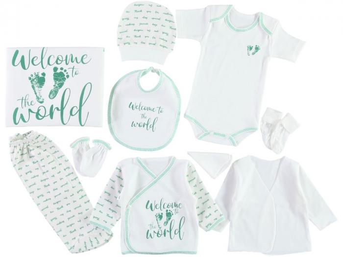 Set de maternitate pentru bebelusi nou nascuti 10 piese, 100% bumbac World Green [0]