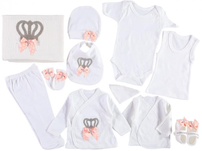 Set de maternitate pentru bebelusi nou nascuti 11 piese, 100% bumbac Peach Crown [0]