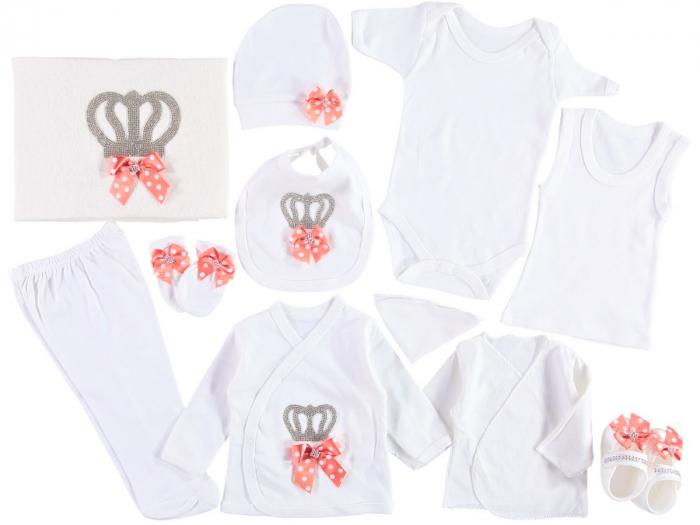 Set de maternitate pentru bebelusi nou nascuti 11 piese, 100% bumbac Pink Crown [0]