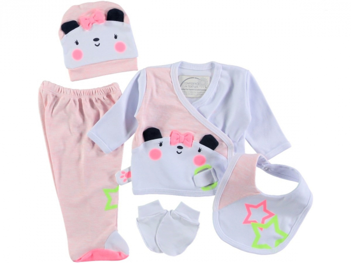 Set de maternitate pentru bebelusi nou nascuti 5 piese, 100% bumbac Roz 15016 [0]