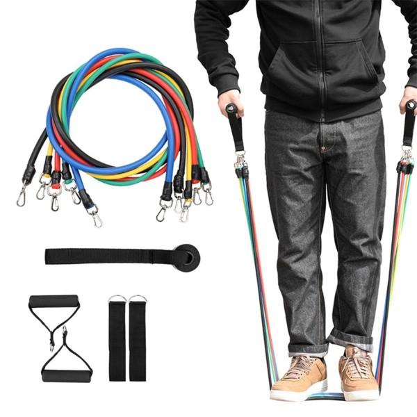 Sistem de antrenament fitness cu corzi extensibile, prinderi multiple, 11 piese [0]