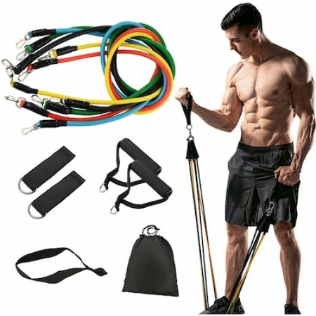 Sistem de antrenament fitness cu corzi extensibile, prinderi multiple, 11 piese [3]