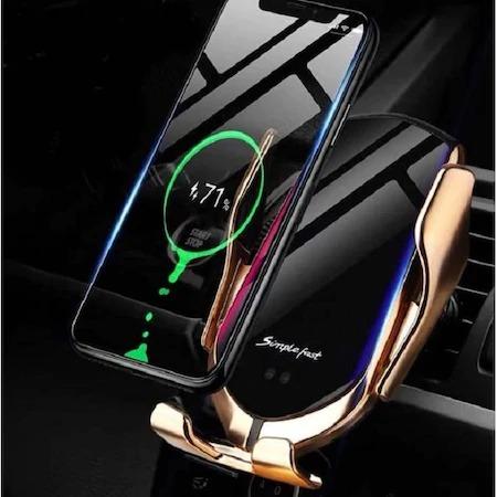 Suport telefon auto cu incarcare wireless, smart sensor, fast charge Gold [2]