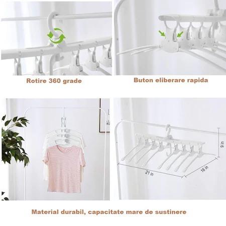 Umeras organizator haine 8 in 1, pliabil, economisire pana la 80% din spatiu, rotire 360 grade, alb, [4]