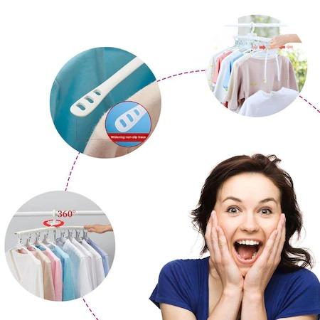 Umeras organizator haine 8 in 1, pliabil, economisire pana la 80% din spatiu, rotire 360 grade, alb, [2]