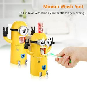 Dozator pasta de dinti cu suport pentru 2 periute, model Minions [2]