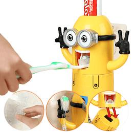 Dozator pasta de dinti cu suport pentru 2 periute, model Minions [0]