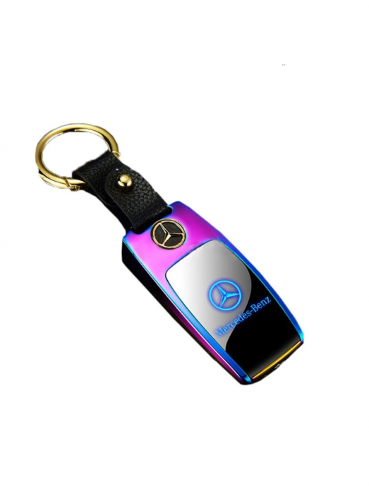 Bricheta electrica aspect tip MERCEDES-BENZ , antivant, reincarcabila USB, metalica [3]