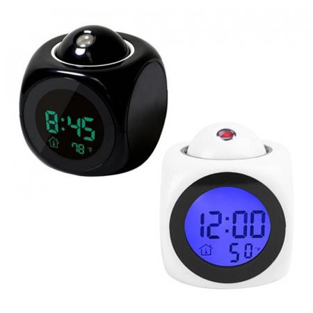 Ceas Led cu proiector si control vocal, multifunctional, digital, Lcd, plin de culoare, cu afisare ora, temperatura si sistem de alarma Negru [1]