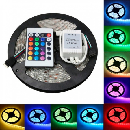 Banda LED multicolor, lungime 5 metri, controller, telecomanda si sursa de curent inclusa [0]