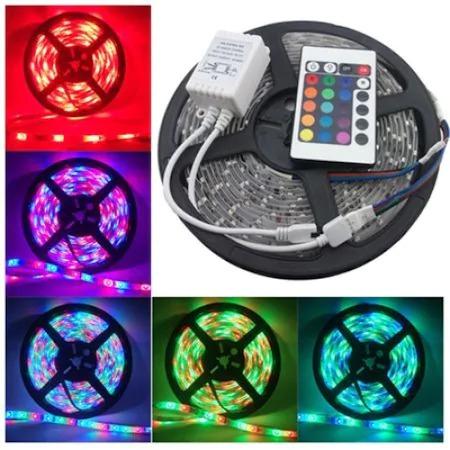 Banda LED multicolor, lungime 5 metri, controller, telecomanda si sursa de curent inclusa [1]