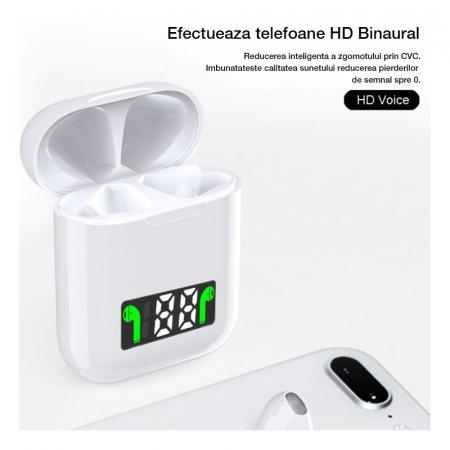 Casti I99 TWS, Bluetooth 5.0, Incarcare Wireless QI, Afisaj Digital, Waterproof IPX6 [4]