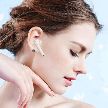 Casti Wi-Fi HD AIX, i12, Wireless, Bluetooth V5.0+, Profesionale, 3D sound, Touch Control Senzor, fast charging, POP-UPS, IPX5, microfon, compatibile cu Bluetooth  Stereo AirPods,Alb [3]