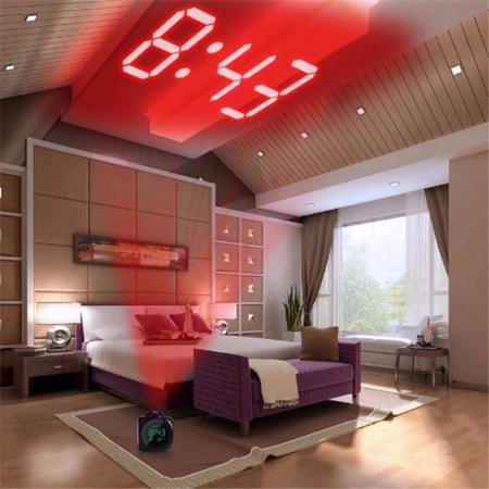 Ceas Led cu proiector si control vocal, multifunctional, digital, Lcd, plin de culoare, cu afisare ora, temperatura si sistem de alarma Alb [0]
