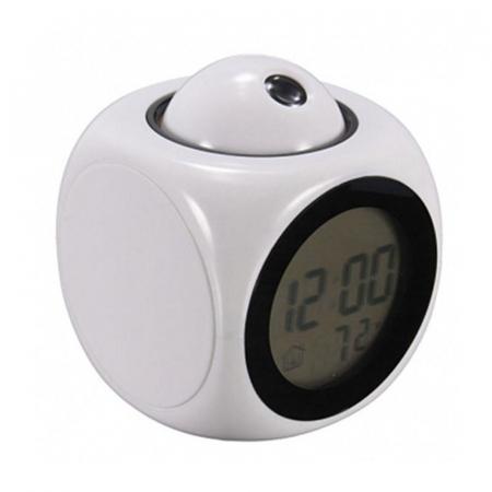 Ceas Led cu proiector si control vocal, multifunctional, digital, Lcd, plin de culoare, cu afisare ora, temperatura si sistem de alarma Alb [3]