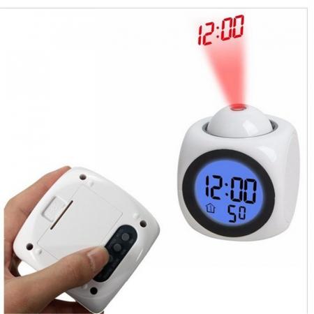 Ceas Led cu proiector si control vocal, multifunctional, digital, Lcd, plin de culoare, cu afisare ora, temperatura si sistem de alarma Alb [1]