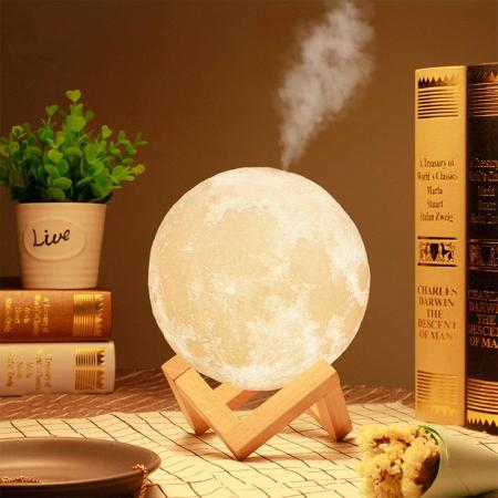 Lampa de veghe cu umidificator, Luna Moon 3D, Aromaterapie 13 CM, Reincarcabila cu acumulator, lumina 3 culori + stand lemn [4]